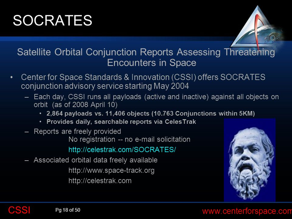 SOCRATES Q. Satellite Orbital Conjunction Reports Assessing Threatening Encounters in Space.