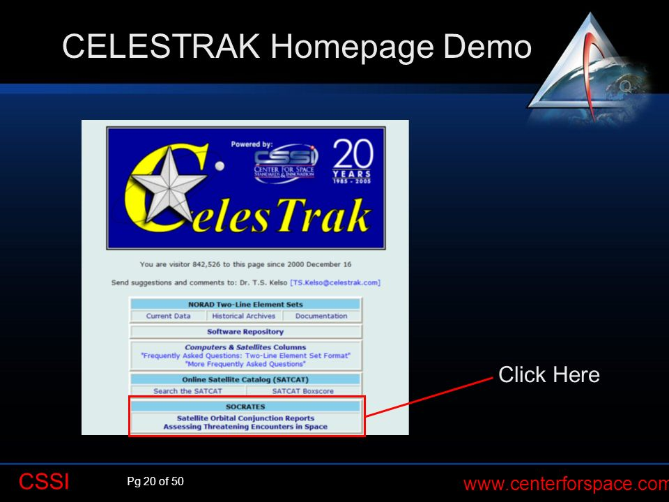 CELESTRAK Homepage Demo