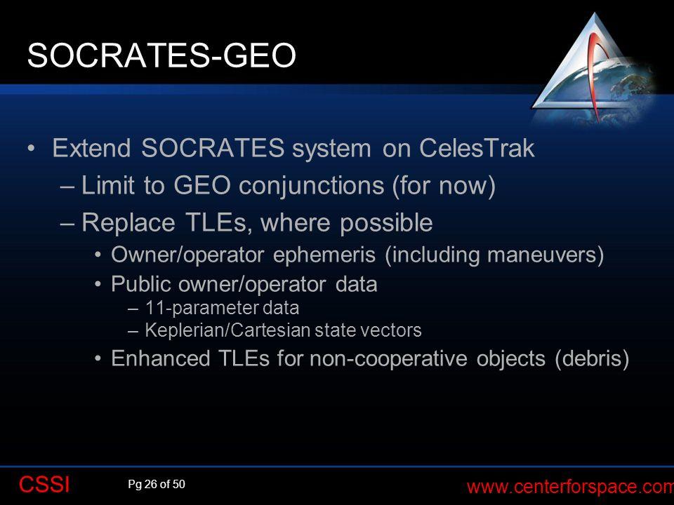 SOCRATES-GEO Extend SOCRATES system on CelesTrak
