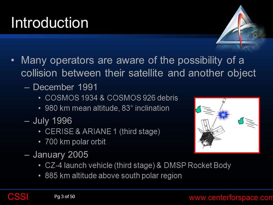 Introduction Q. Many operators are aware of the possibility of a collision between their satellite and another object.
