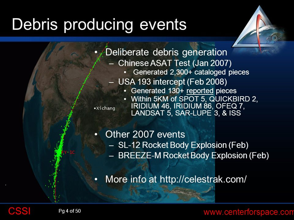 Debris producing events