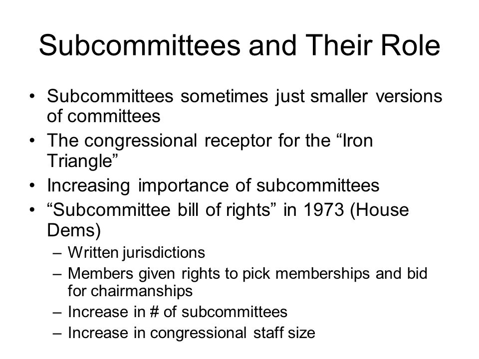 Subcommittees and Their Role
