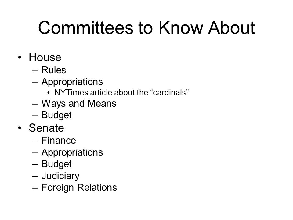 Committees to Know About