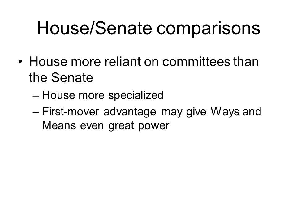 House/Senate comparisons