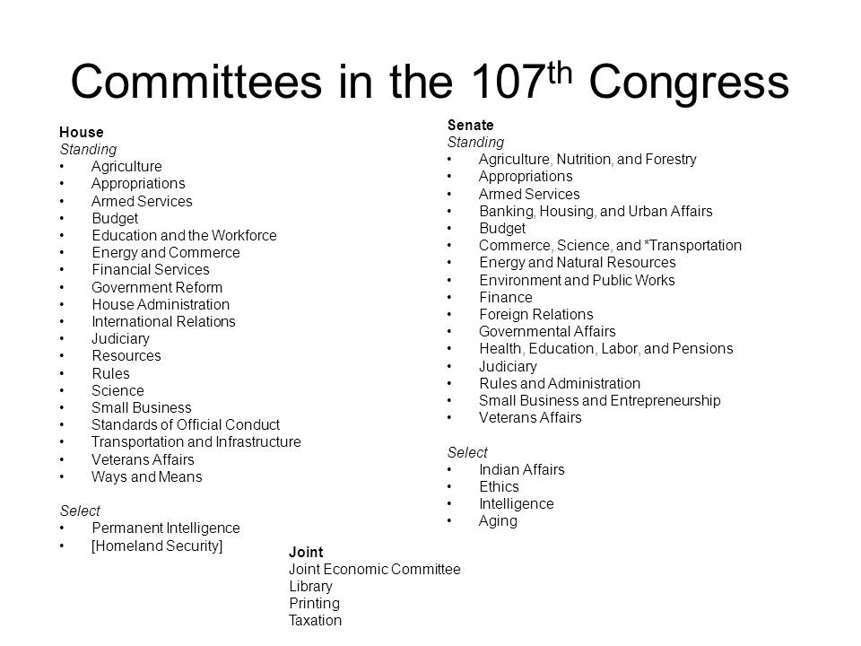 Committees in the 107th Congress