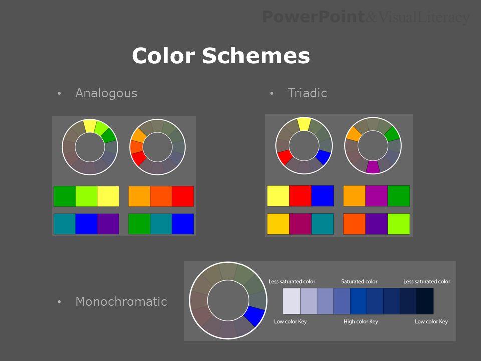 Color Schemes Analogous Triadic Monochromatic