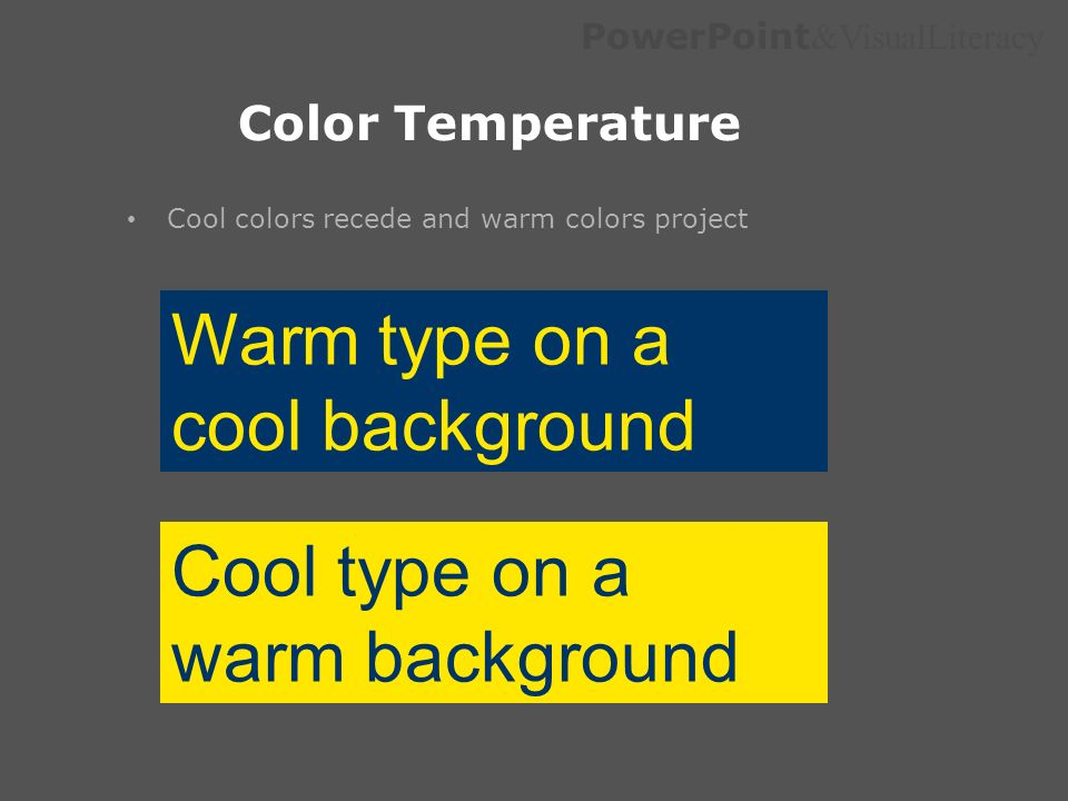 Warm type on a cool background