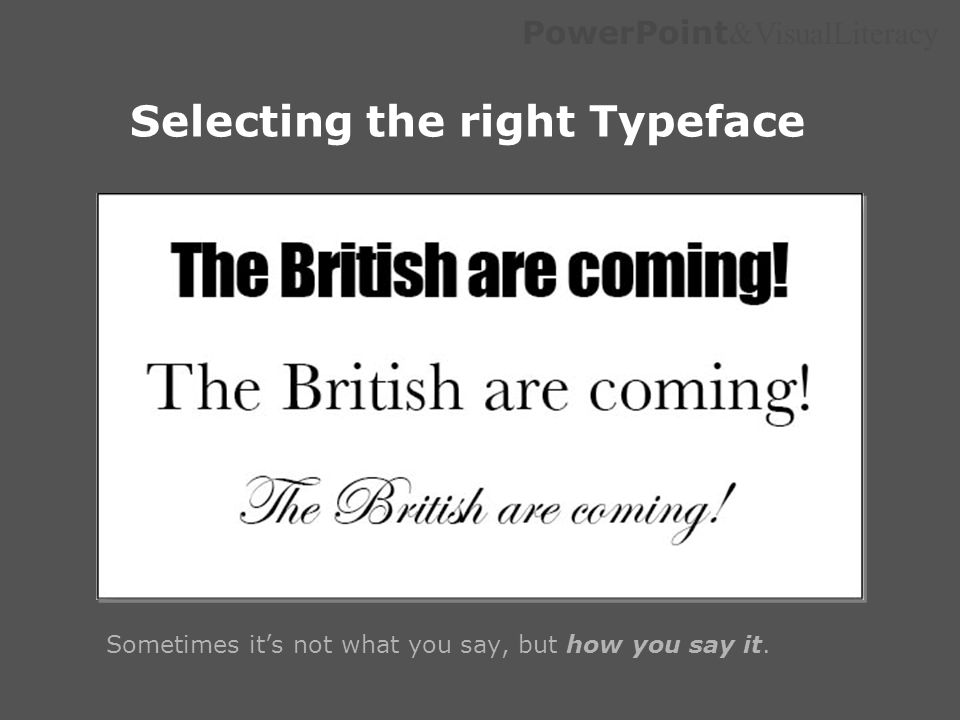 Selecting the right Typeface