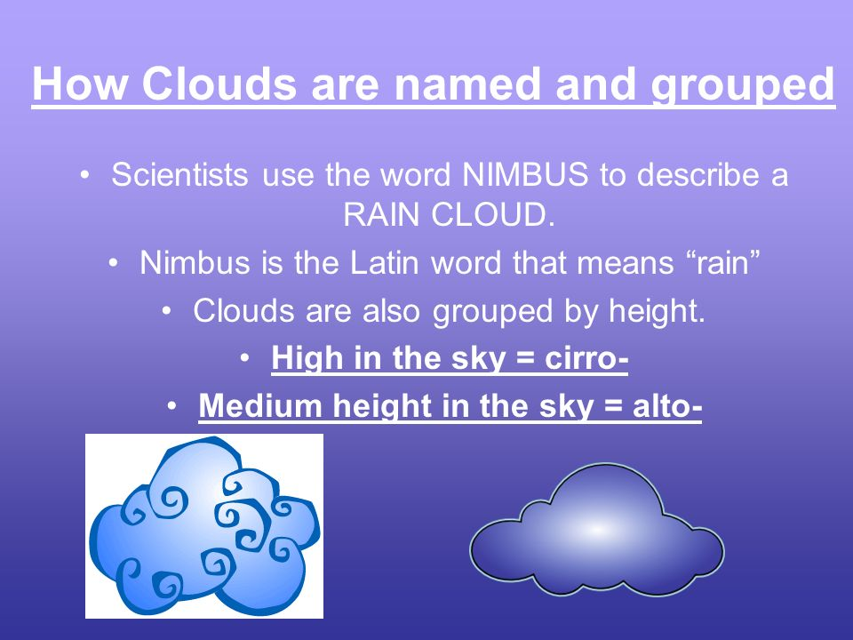 How Clouds are named and grouped