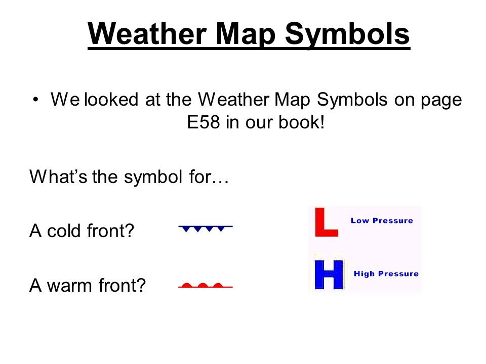 We looked at the Weather Map Symbols on page E58 in our book!