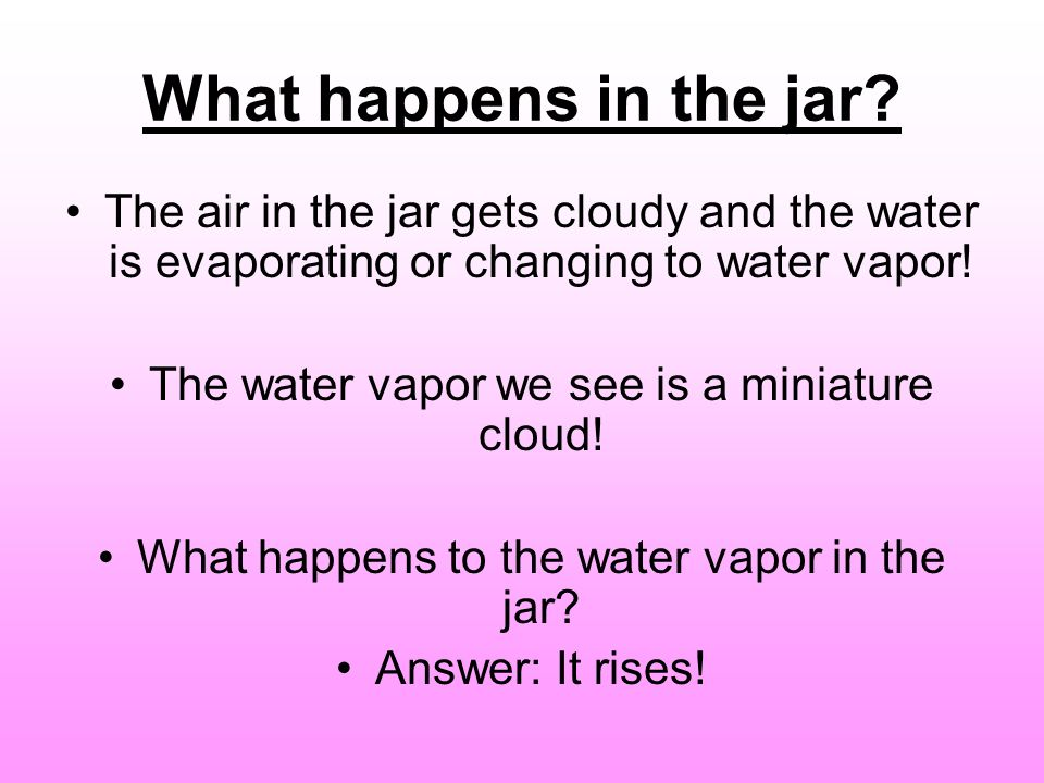 What happens in the jar The air in the jar gets cloudy and the water is evaporating or changing to water vapor!