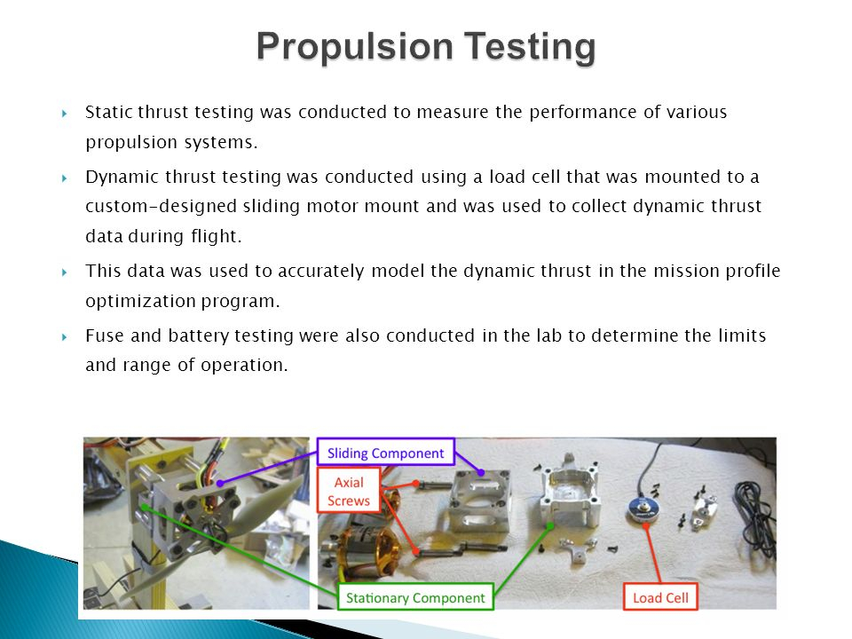 Propulsion Testing Static thrust testing was conducted to measure the performance of various propulsion systems.