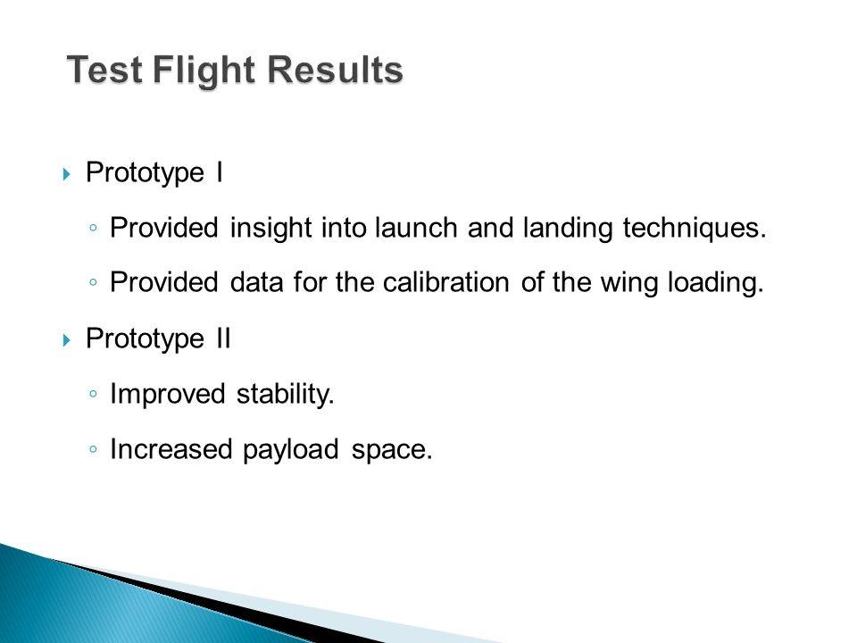 Test Flight Results Prototype I