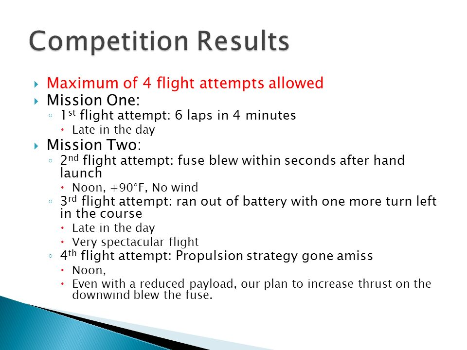 Competition Results Maximum of 4 flight attempts allowed Mission One: