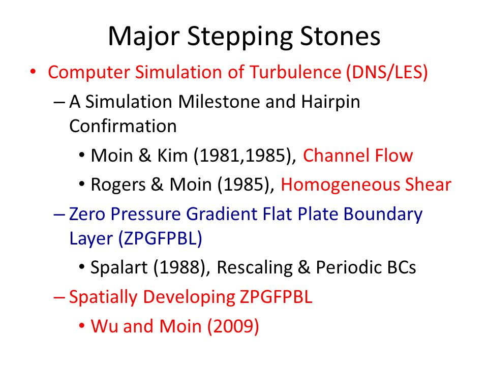 Major Stepping Stones Computer Simulation of Turbulence (DNS/LES)