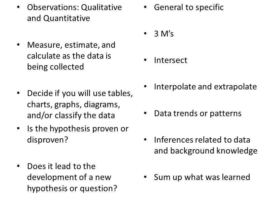 Observations: Qualitative and Quantitative