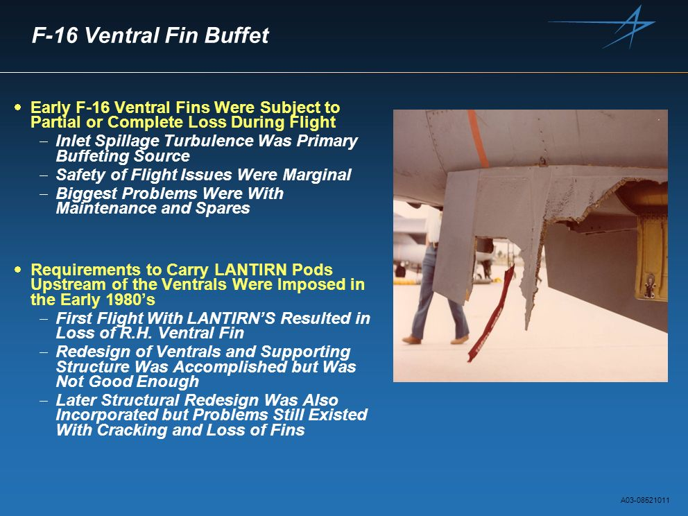 F-16 Ventral Fin Buffet Early F-16 Ventral Fins Were Subject to Partial or Complete Loss During Flight.