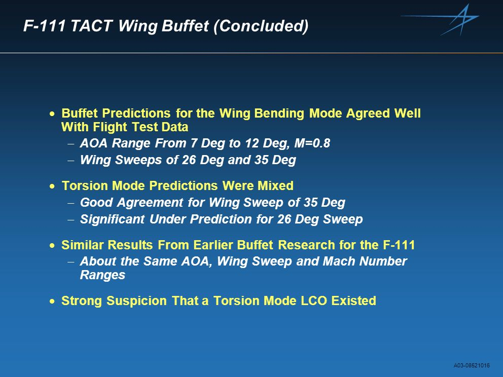 F-111 TACT Wing Buffet (Concluded)