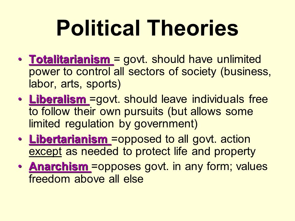 Political Theories Totalitarianism = govt. should have unlimited power to control all sectors of society (business, labor, arts, sports)