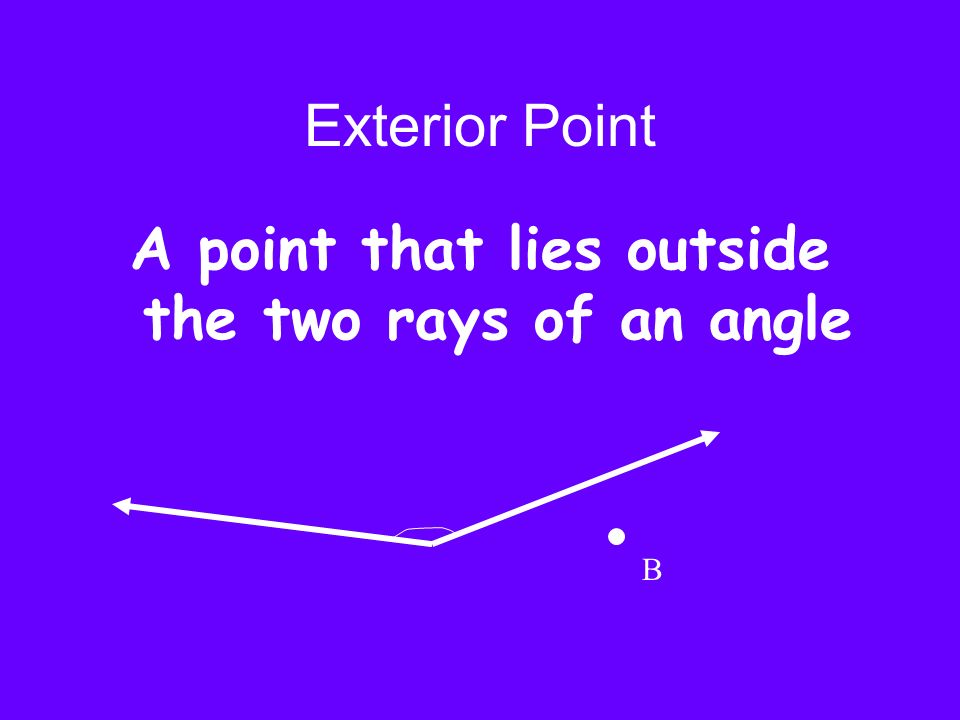 A point that lies outside the two rays of an angle