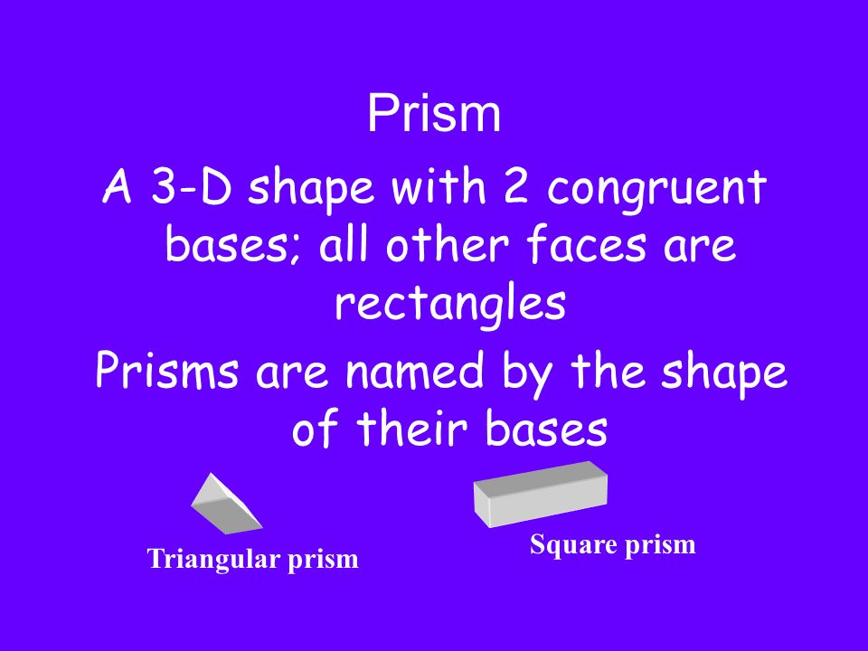 PrismA 3-D shape with 2 congruent bases; all other faces are rectangles. Prisms are named by the shape of their bases.