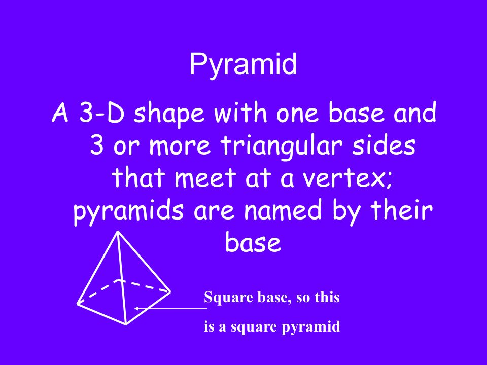 Pyramid A 3-D shape with one base and 3 or more triangular sides that meet at a vertex; pyramids are named by their base.