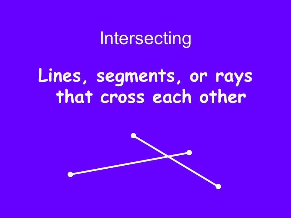 Lines, segments, or rays that cross each other