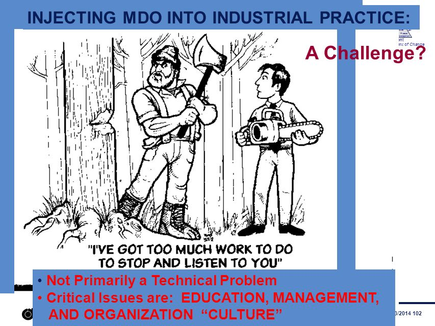 A Challenge INJECTING MDO INTO INDUSTRIAL PRACTICE: