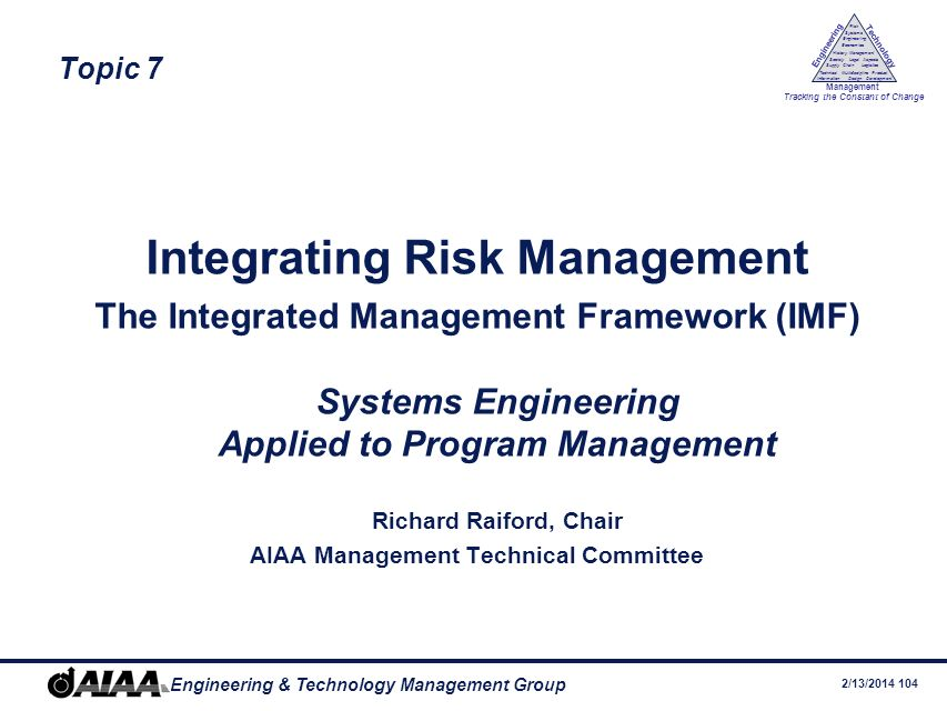Integrating Risk Management AIAA Management Technical Committee