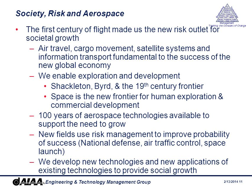 Society, Risk and Aerospace