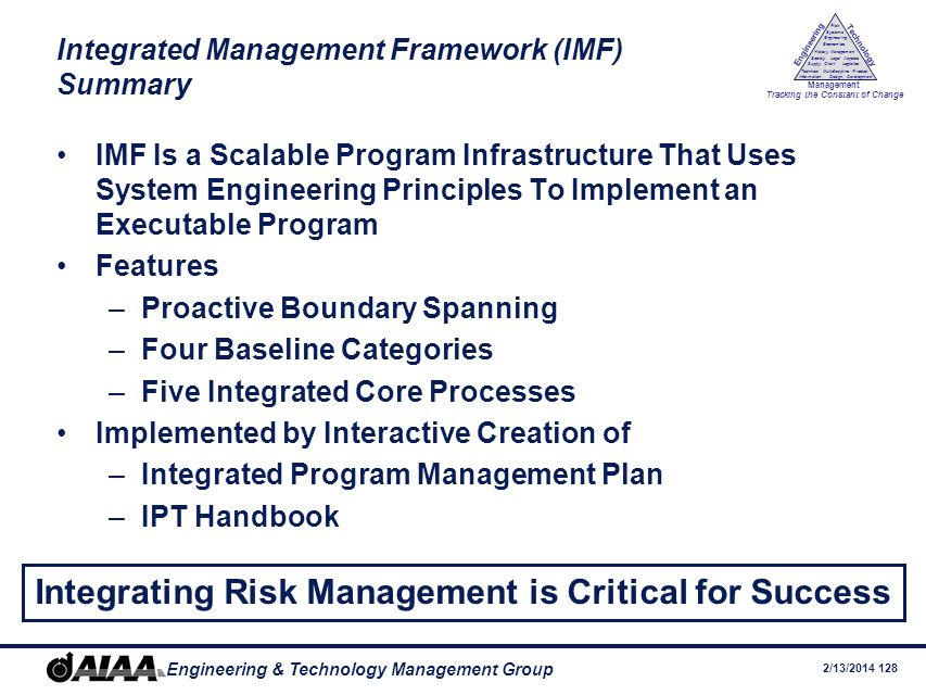Integrated Management Framework (IMF) Summary