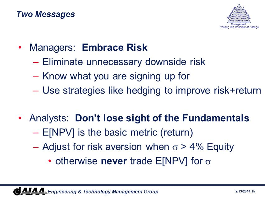 Managers: Embrace Risk Eliminate unnecessary downside risk