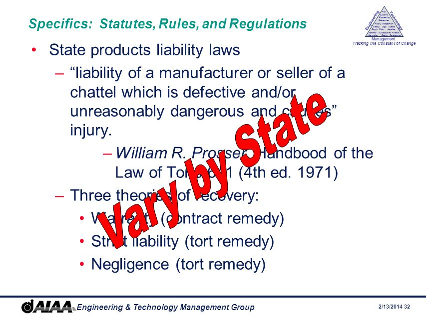 Specifics: Statutes, Rules, and Regulations