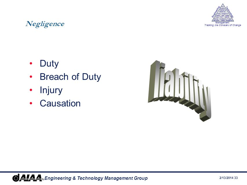 Negligence Duty Breach of Duty Injury Causation liability