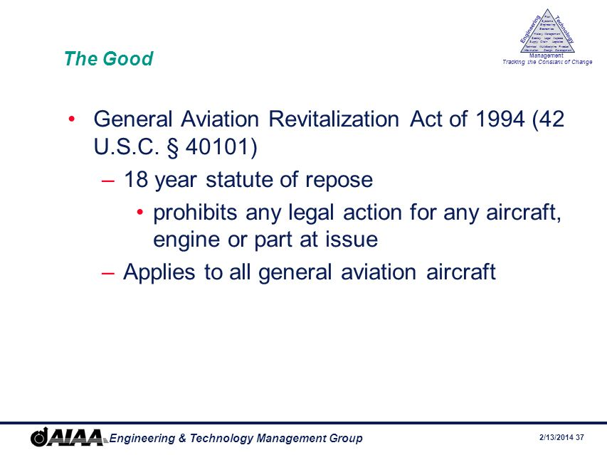 General Aviation Revitalization Act of 1994 (42 U.S.C. § 40101)