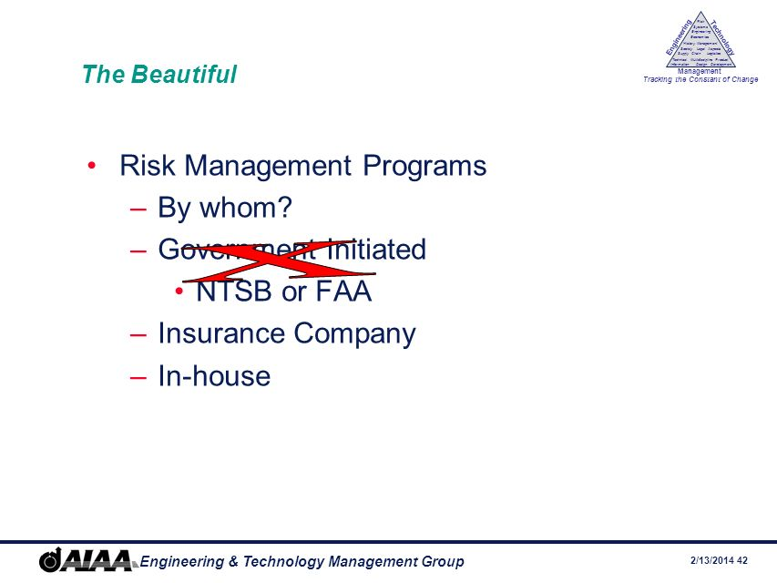 x Risk Management Programs By whom Government Initiated NTSB or FAA