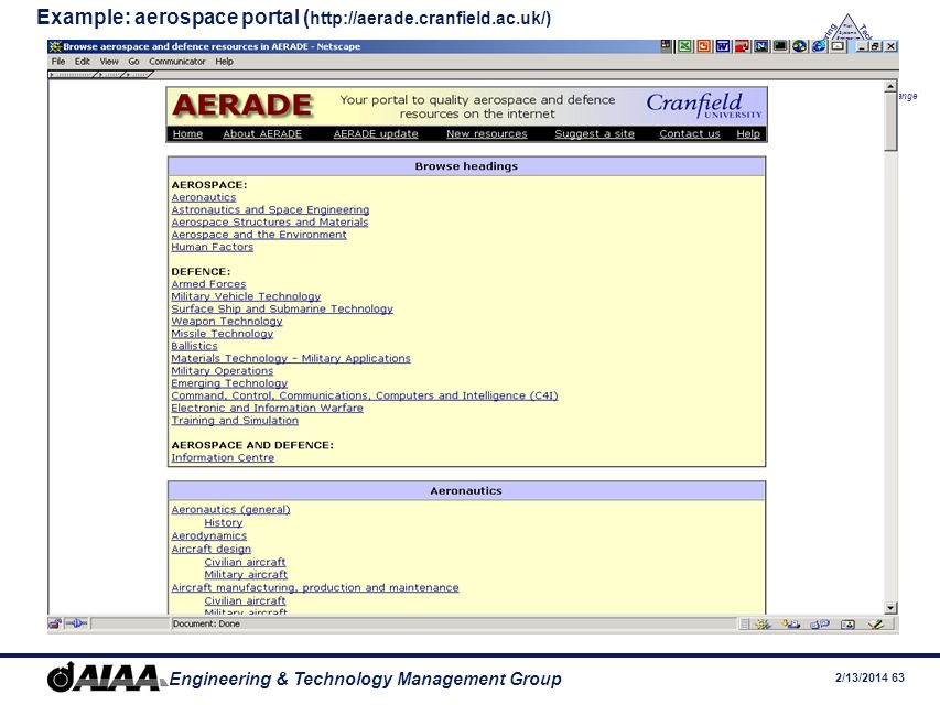 Example: aerospace portal (http://aerade.cranfield.ac.uk/)