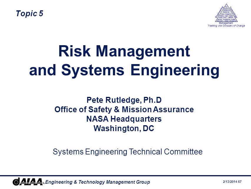 and Systems Engineering Office of Safety & Mission Assurance