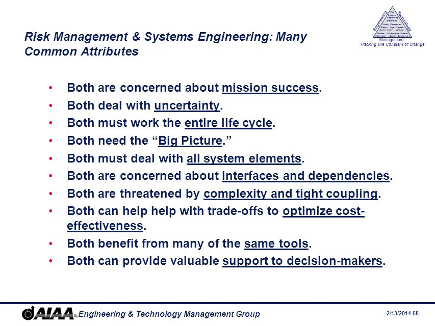 Risk Management & Systems Engineering: Many Common Attributes