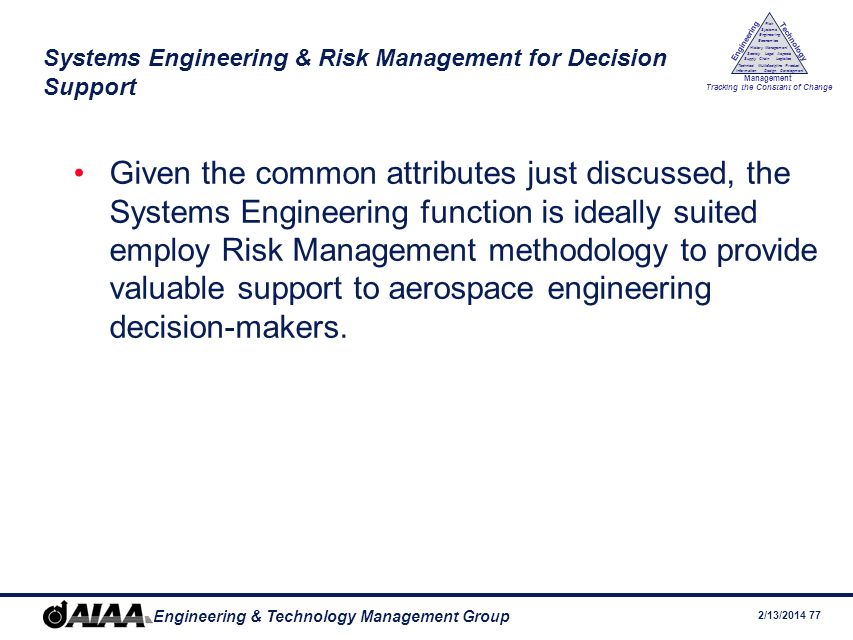 Systems Engineering & Risk Management for Decision Support