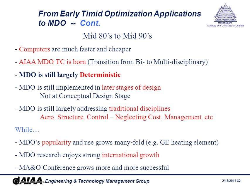 From Early Timid Optimization Applications to MDO -- Cont.