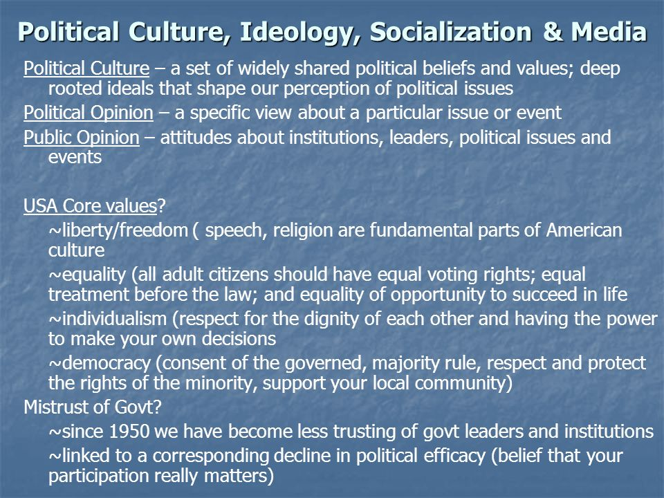 Political Culture, Ideology, Socialization & Media