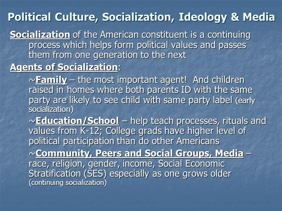 Political Culture, Socialization, Ideology & Media