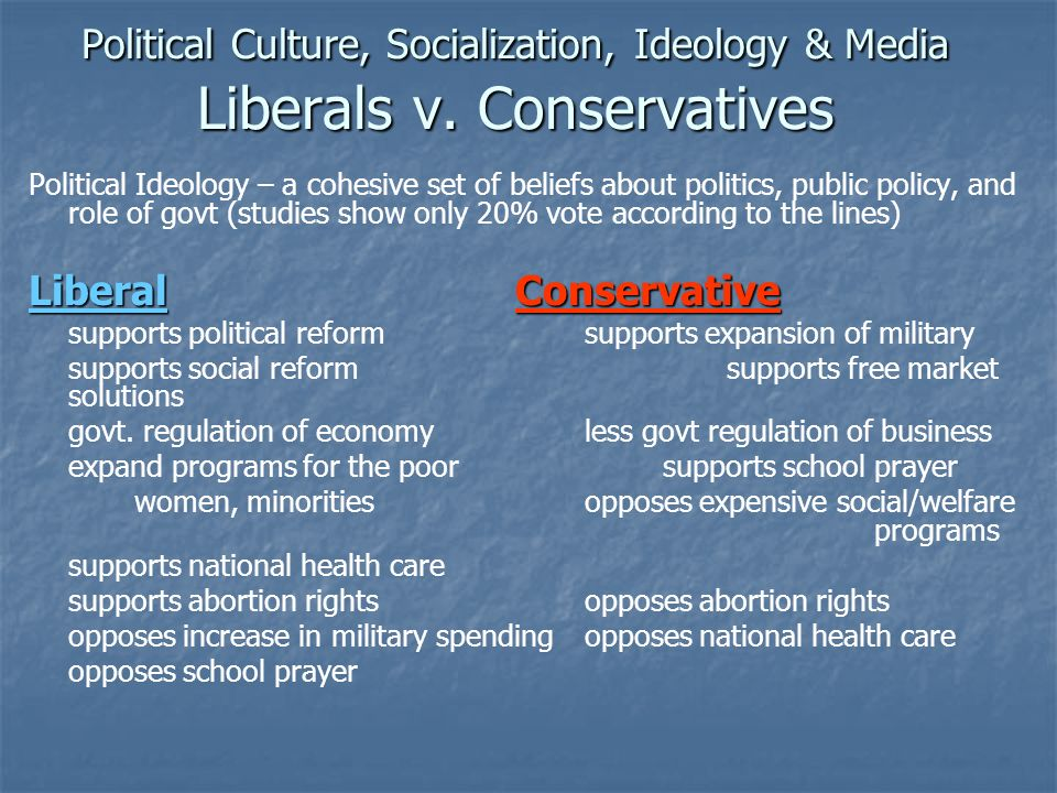 Political Culture, Socialization, Ideology & Media Liberals v
