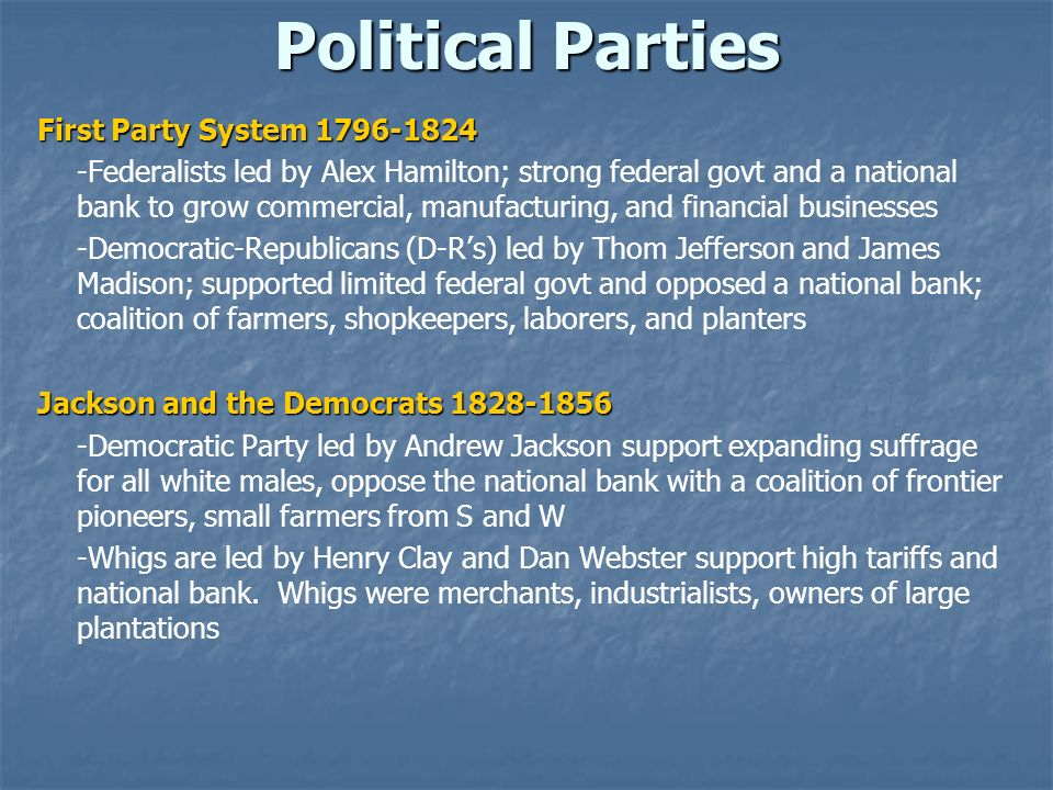 Political Parties First Party System 1796-1824