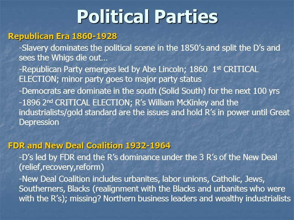 Political Parties Republican Era 1860-1928