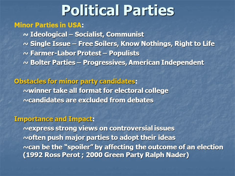 Political Parties Minor Parties in USA: