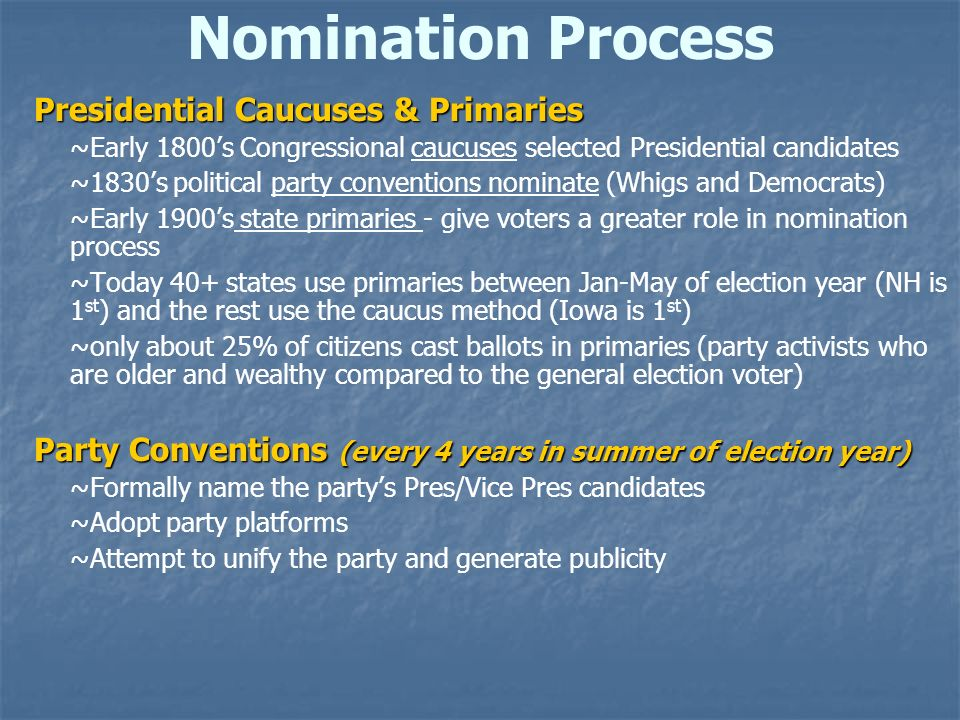 Nomination Process Presidential Caucuses & Primaries