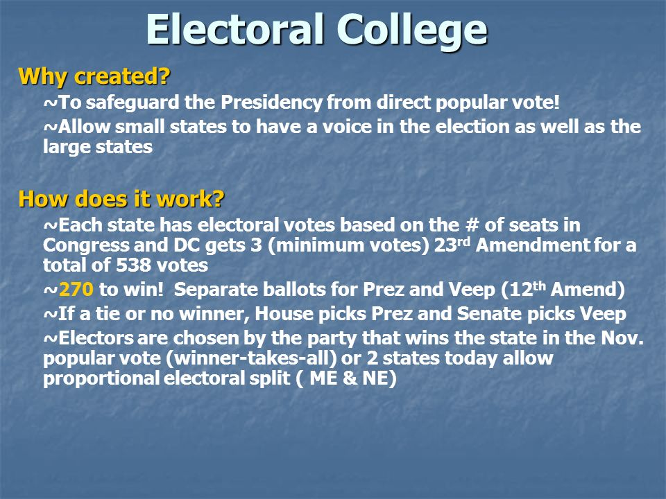 Electoral College Why created How does it work