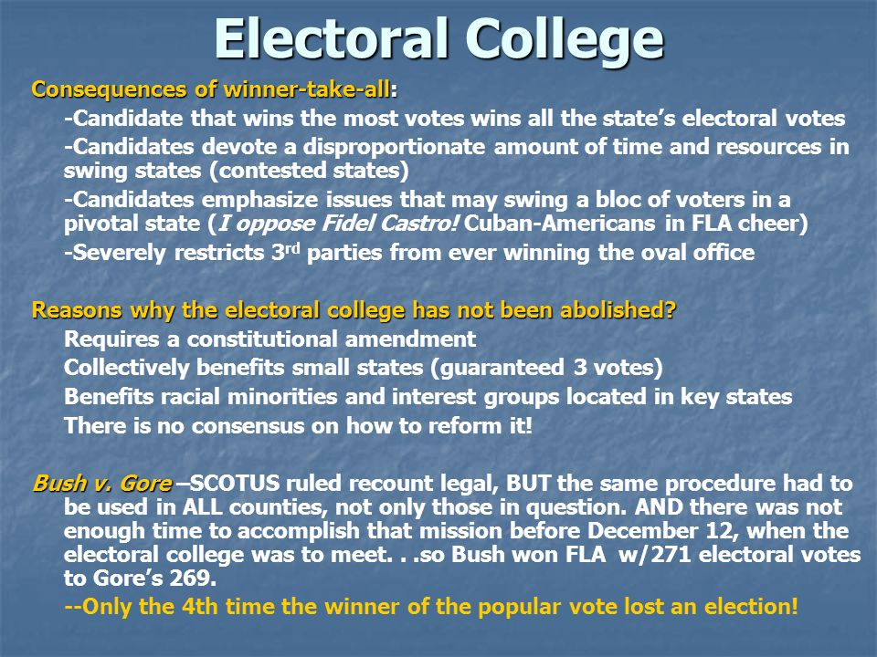Electoral College Consequences of winner-take-all:
